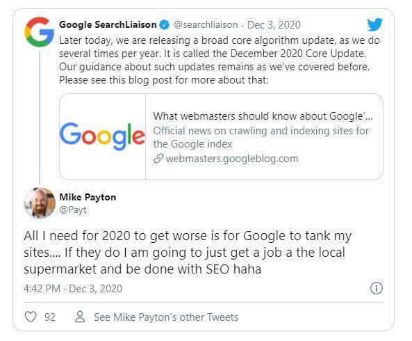 Google alap-algoritmus (CORE) frissítés bejelentése
