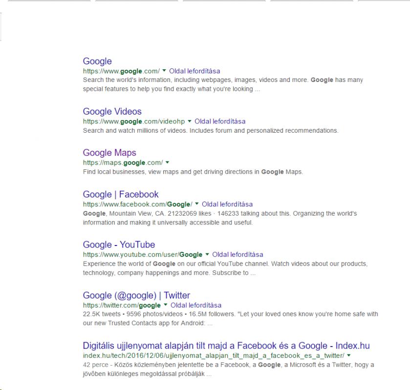 google-talalati-lista