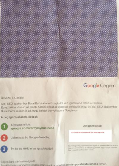 Google Cégem azonosítókód