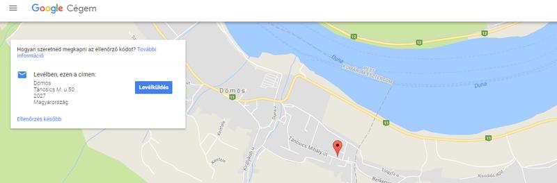 Google Cégem cím ellenőrzése