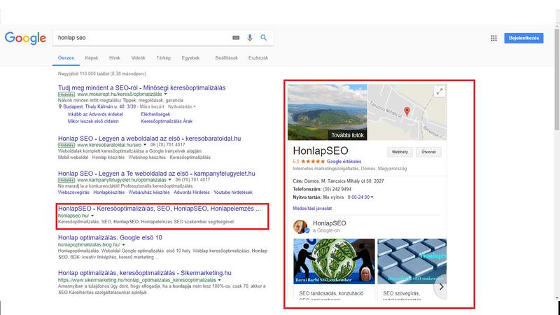 Google Cégem HonlapSEO