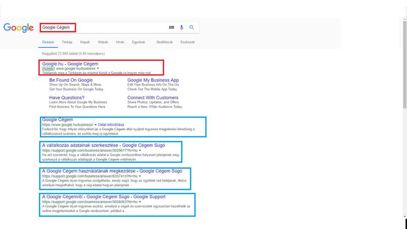 Google Cégem keresés