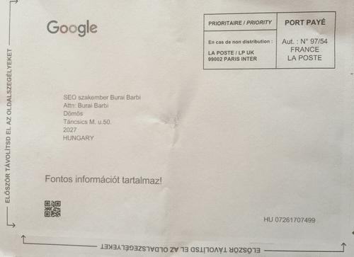 Google Cégem levél