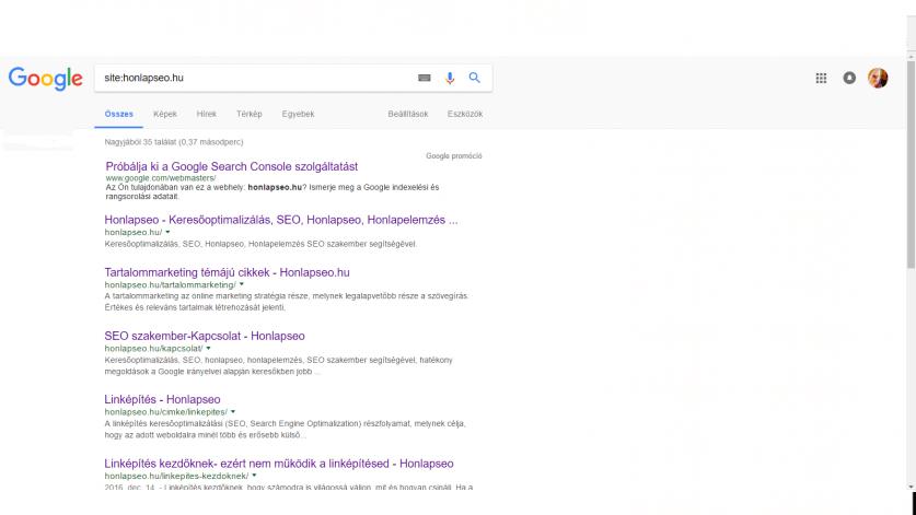 google indexelt allapot