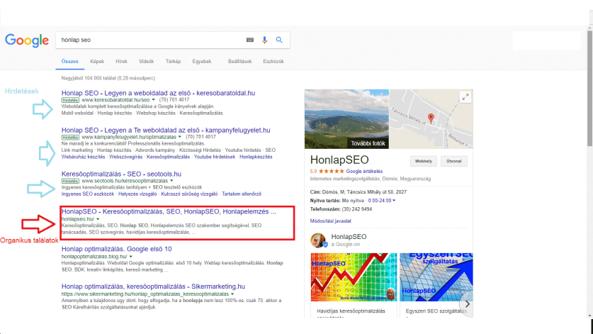 SEO jelentése - Google Cégem találat