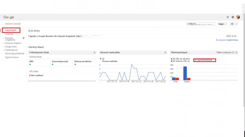 Google Webmester Eszközök irányítópult képe