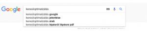 Google keresőbe leírva a kulcsszó