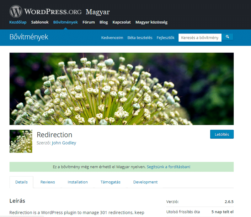 Redirection plugin a WordPress- től.