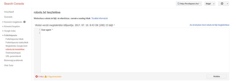 Robots.txt a Search Console-ban.